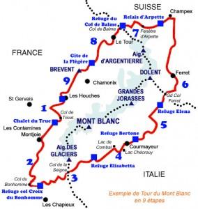Exemple de Tour du Mont blanc en 9 étapes
